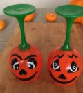 Halloween pumpkin wine glasses. Finished with a high gloss.